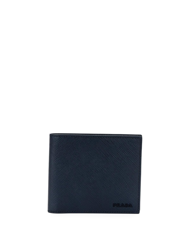 515122ce4459 Prada Men's Colorblock Saffiano Leather Double Billfold Wallet ...