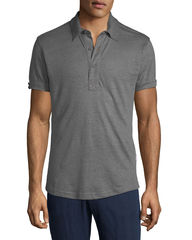 Orlebar Brown Mens Sebastian Tailored Linen Polo Shirt Neiman Marcus