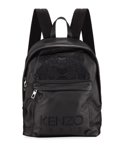 Men's Tiger-Embroidered Leather Backpack