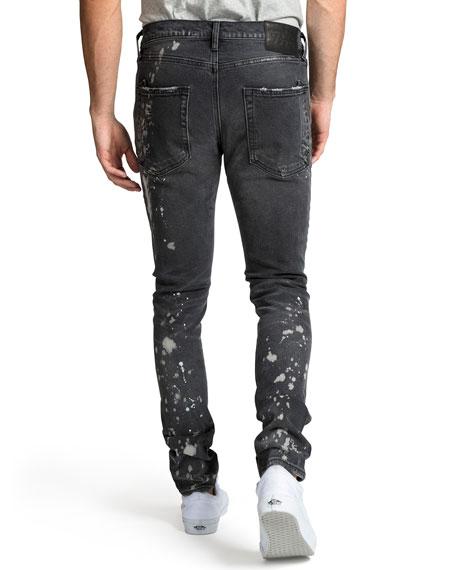 PRPS Men's Windsor Fit Bleached Denim Jeans with Rib/Repair