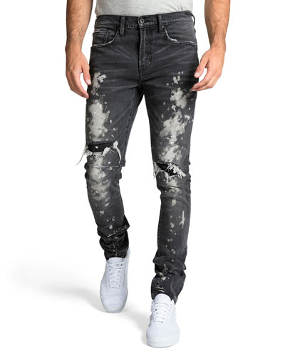 Men's Windsor Fit Bleached Denim Jeans with Rib/Repair
