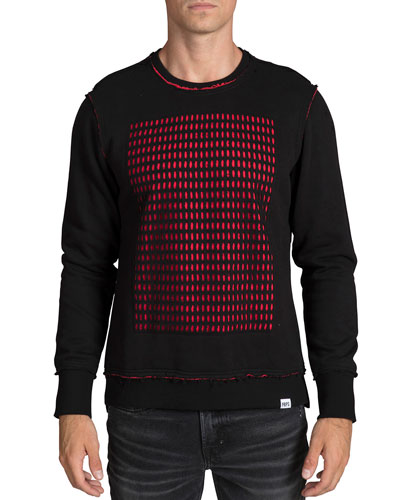 Men's Perforated-Panel Crewneck Sweater
