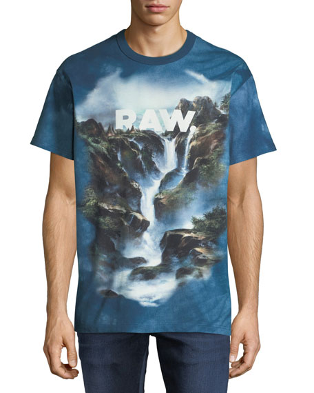 G-STAR Men'S Cyrer Raw Graphic T-Shirt in Teal