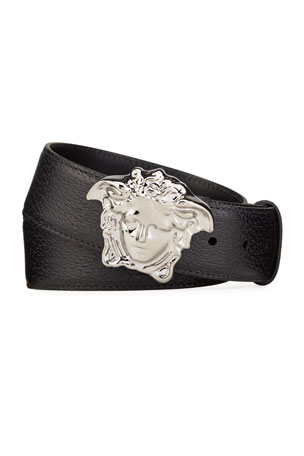 Versace Men's Embossed Leather Medusa-Buckle Belt