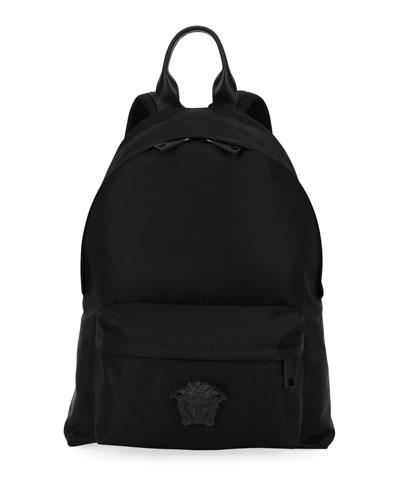 Men's Nylon Backpack w/ Medusa Head Detail