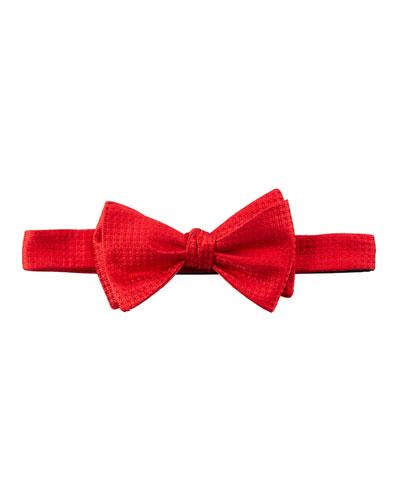 Pre-Tied Box-Pattern Satin Bow Tie