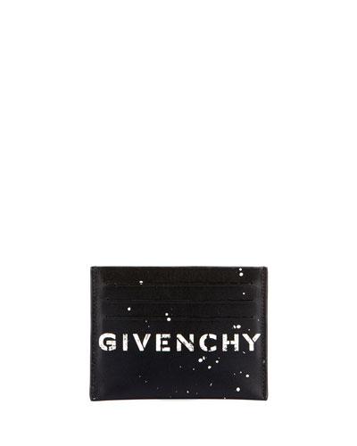 Men's Logo-Print Leather Card Holder
