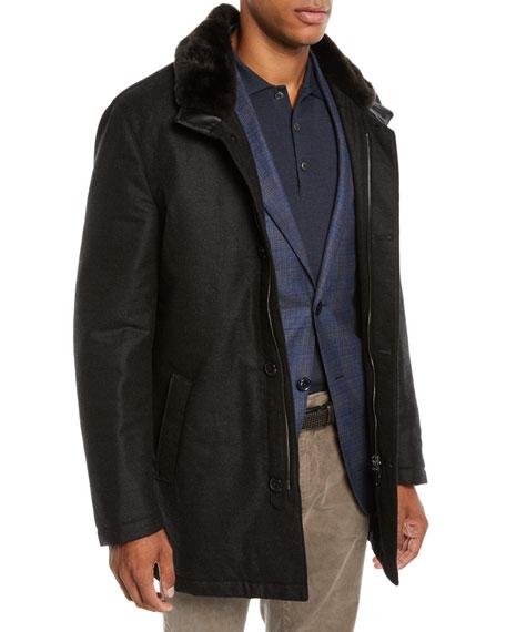 Mandelli Men's Car Coat with Fur Collar