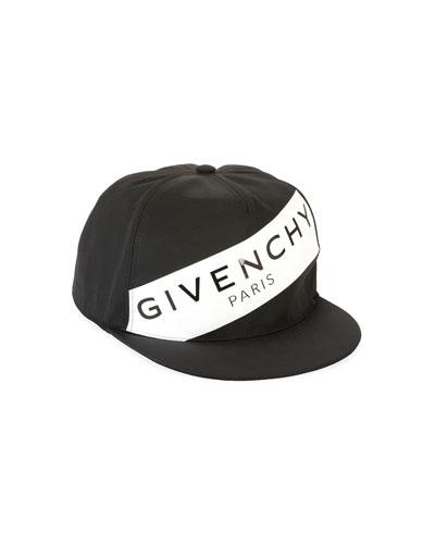 Men's Logo Flat-Bill Hat  Black/White