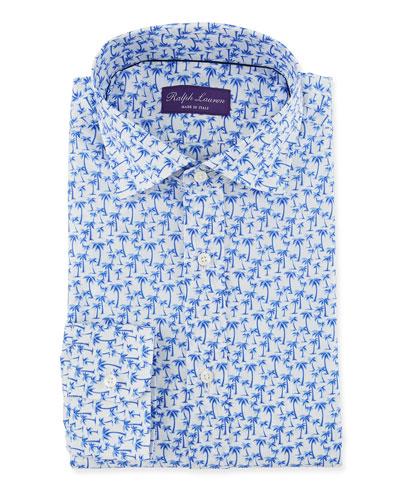 Men's Palm Tree Print Dress Shirt