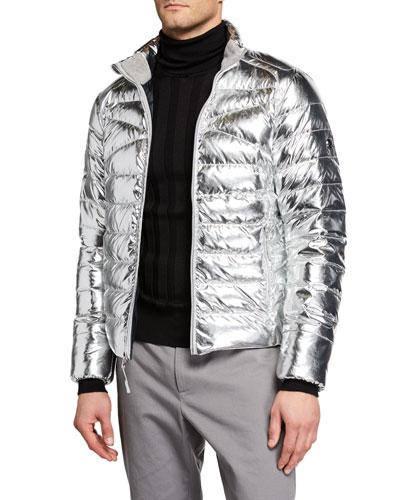 Men's Metallic Zip-Front Puffer Jacket