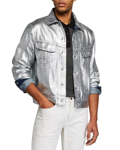 Men's Metallic Denim Trucker Jacket