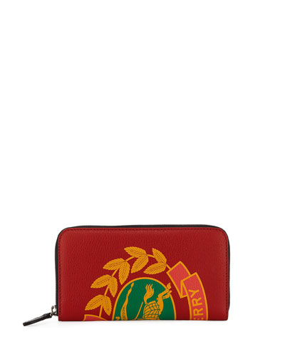 Men's Crest-Print Leather Zip-Around Wallet