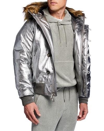 Men's Metallic Foil Leather Jacket w/ Faux-Fur Hood