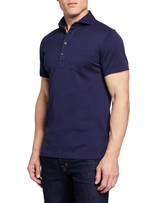 Ralph Lauren Mens Pique Pocket Polo Shirt Navy Neiman Marcus