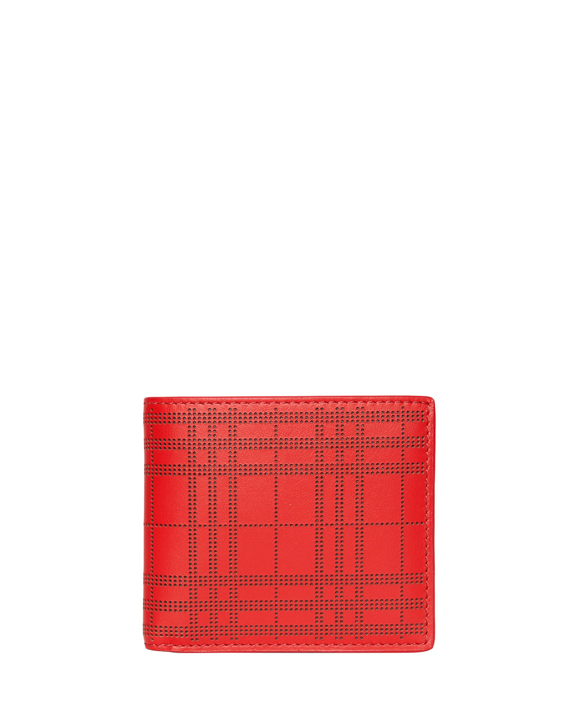 977a82d0732 Burberry Men s Perforated Check Bi-Fold Leather Wallet