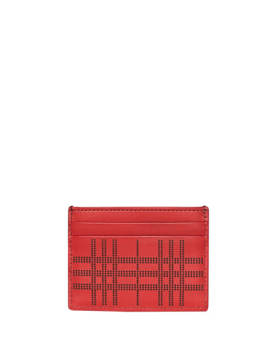 Men's Sandon Perforated Check Card Case, Red