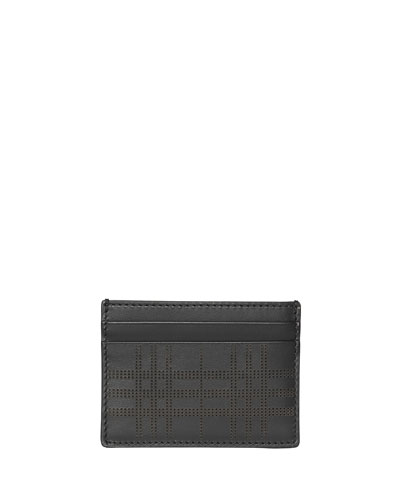 Men's Sandon Perforated Check Card Case, Black