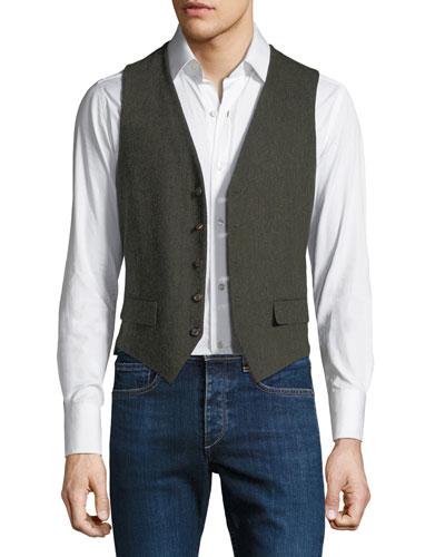 Men's Gilet Vest with Leather Details
