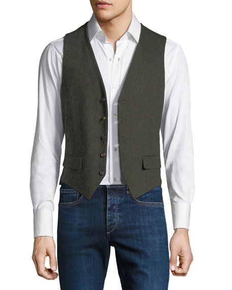STEFANO RICCI Men'S Gilet Vest With Leather Details in Green