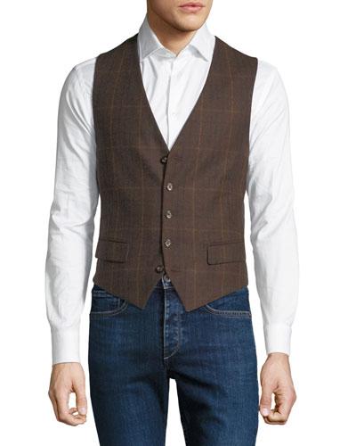 Men's Plaid Pattern Waistcoat Button Vest