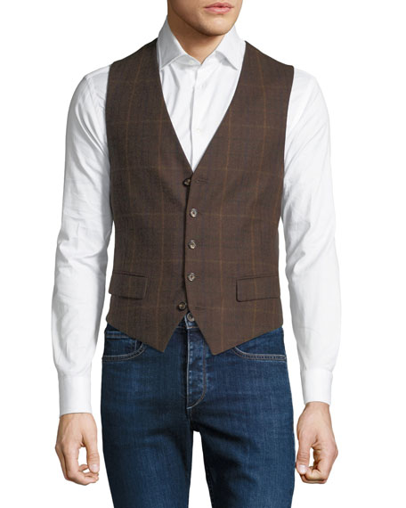STEFANO RICCI Men'S Plaid Pattern Waistcoat Button Vest in Brown