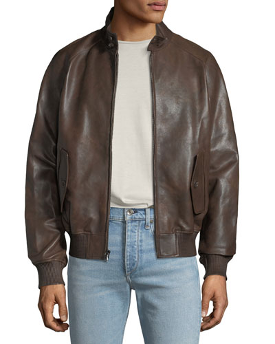 Men's Barracuda Leather Zip-Front Jacket