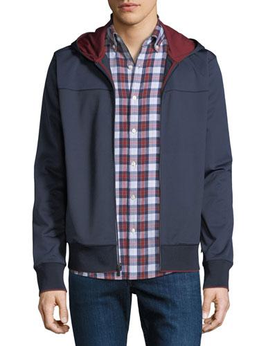 Men's Contrast-Trim Nylon Zip-Front Hoodie