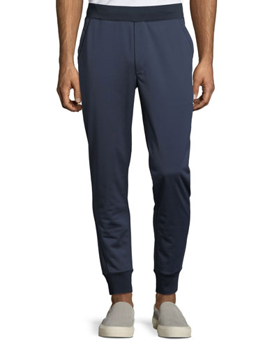 Men's Ribbed-Trim Nylon Jogger Pants