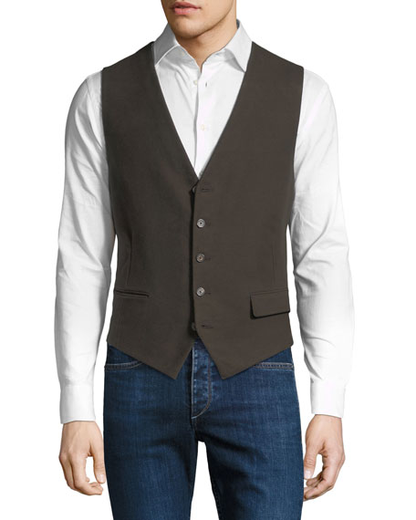 STEFANO RICCI Men'S Waxed Cotton Gilet Vest With Leather Details in Brown