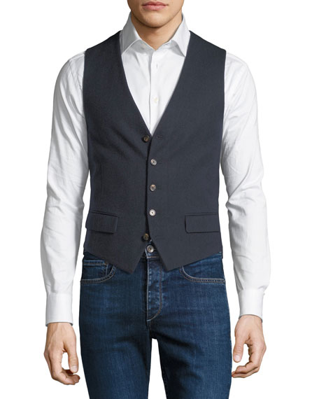 STEFANO RICCI Men'S Waxed Cotton Gilet Vest With Leather Details in Blue