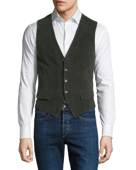 STEFANO RICCI Men'S Corduroy Button-Front Gilet Vest in Green