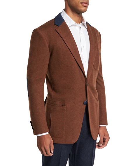 STEFANO RICCI Men'S Campagna Wool Sport Jacket in Brown/Blue