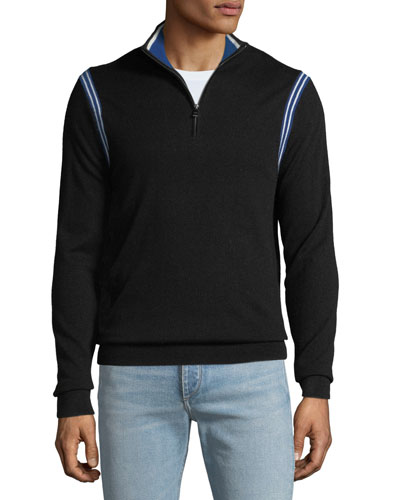 Men's Active Stripe 1/4-Zip Sweater