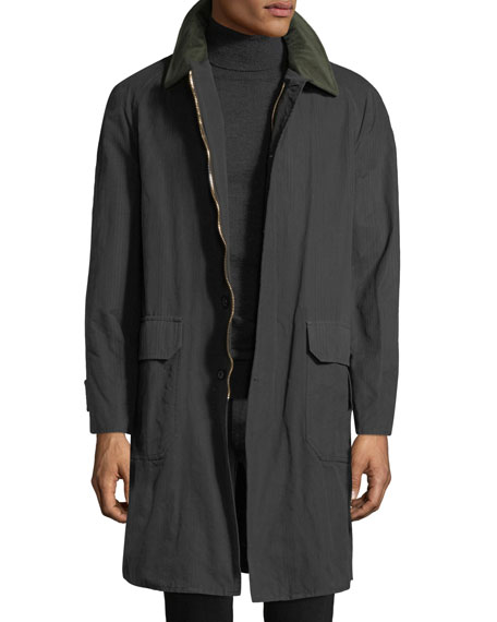 STEFANO RICCI Men'S Waxed Cotton Parka Coat With Leather Trim in Green