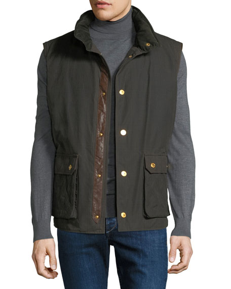 STEFANO RICCI Men'S Waxed Cotton Gilet Vest With Leather Trim in Green