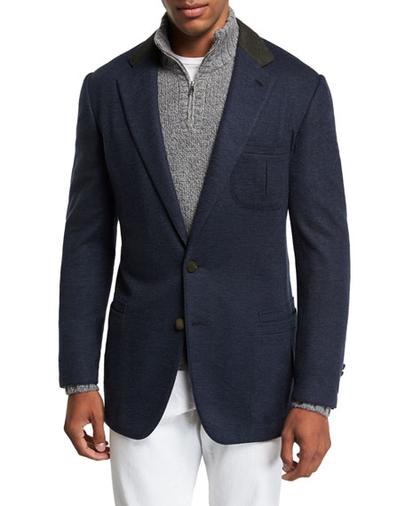 STEFANO RICCI Men'S Two-Button Cashmere Sportcoat With Suede Collar And Button Detail in Blue/Green