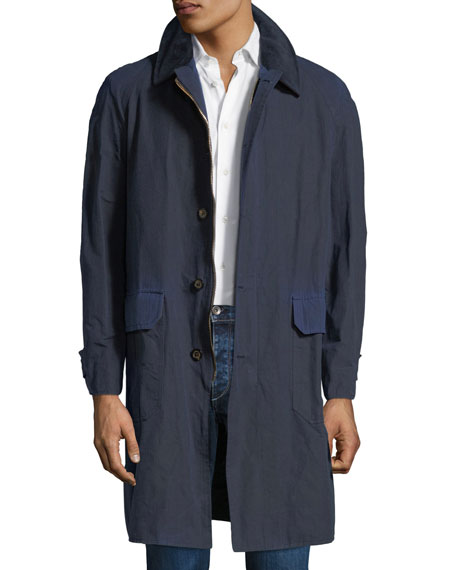 STEFANO RICCI Men'S Waxed Cotton Parka Coat With Leather Trim in Blue