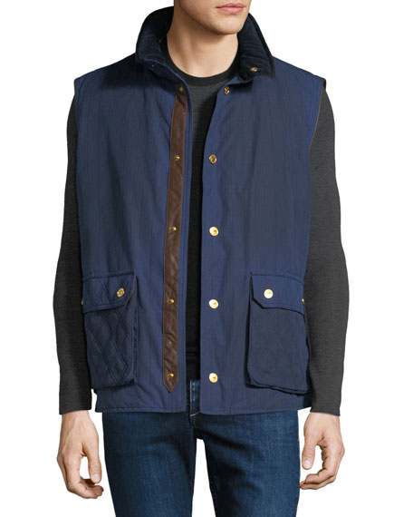STEFANO RICCI Men'S Waxed Cotton Sport Gilet Vest in Blue