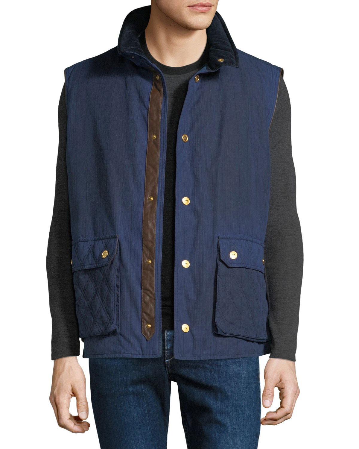 Stefano Ricci Men's Waxed Cotton Sport Gilet Vest