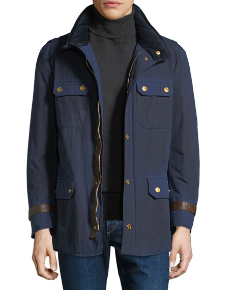 STEFANO RICCI Men'S Waxed Cotton Sport Jacket in Blue