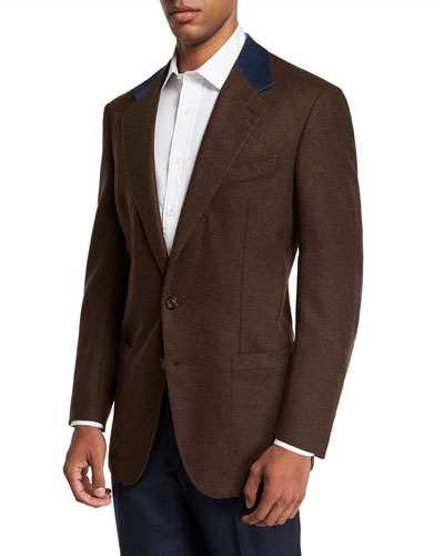 Men's Wool and Cashmere Sport Jacket with Suede Collar Details