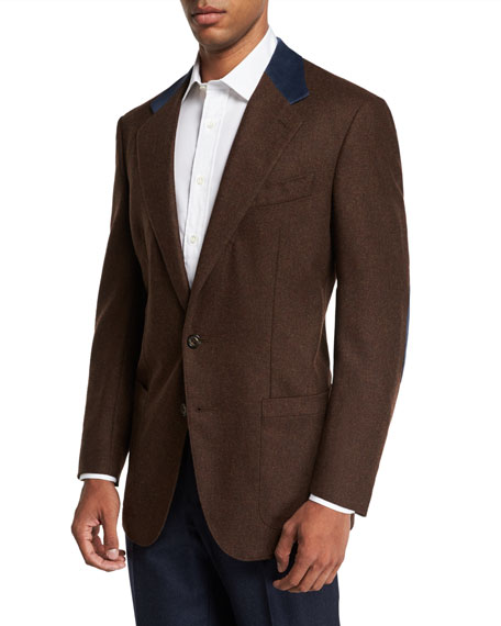 STEFANO RICCI Men'S Wool And Cashmere Sport Jacket With Suede Collar Details in Brown