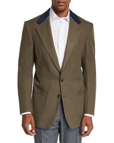 Men's Campagna Wool Sport Jacket with Suede Details