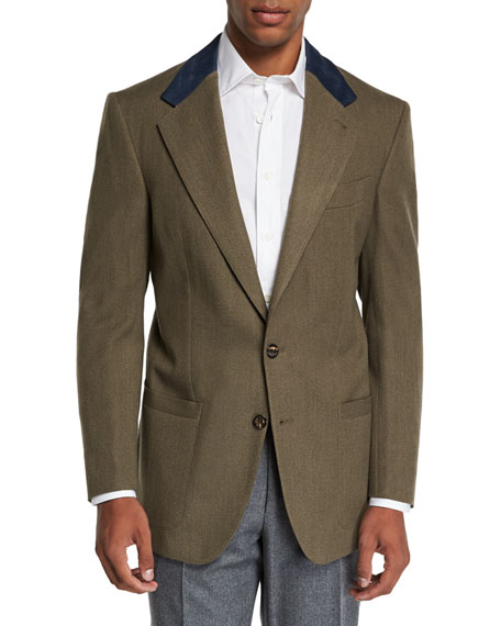 STEFANO RICCI Men'S Campagna Wool Sport Jacket With Suede Details in Green