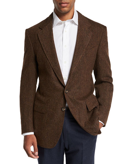 STEFANO RICCI Men'S Casual Two-Button Casual Sport Jacket in Brown