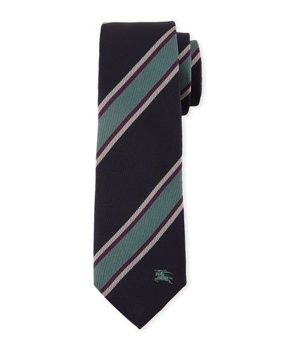 Slim-Cut Jacquard-Woven Striped Silk Tie
