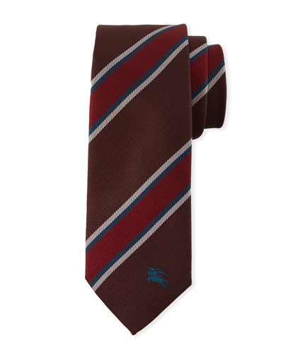 Oxblood Slim-Cut Striped Silk Tie