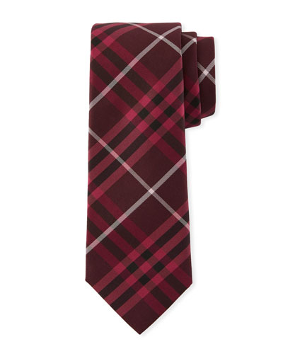 Elderberry Slim-Cut Check Silk Tie
