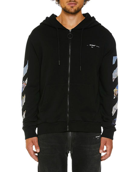 Off-White Men's Colored Diagonal-Arrows Zip-Front Hoodie